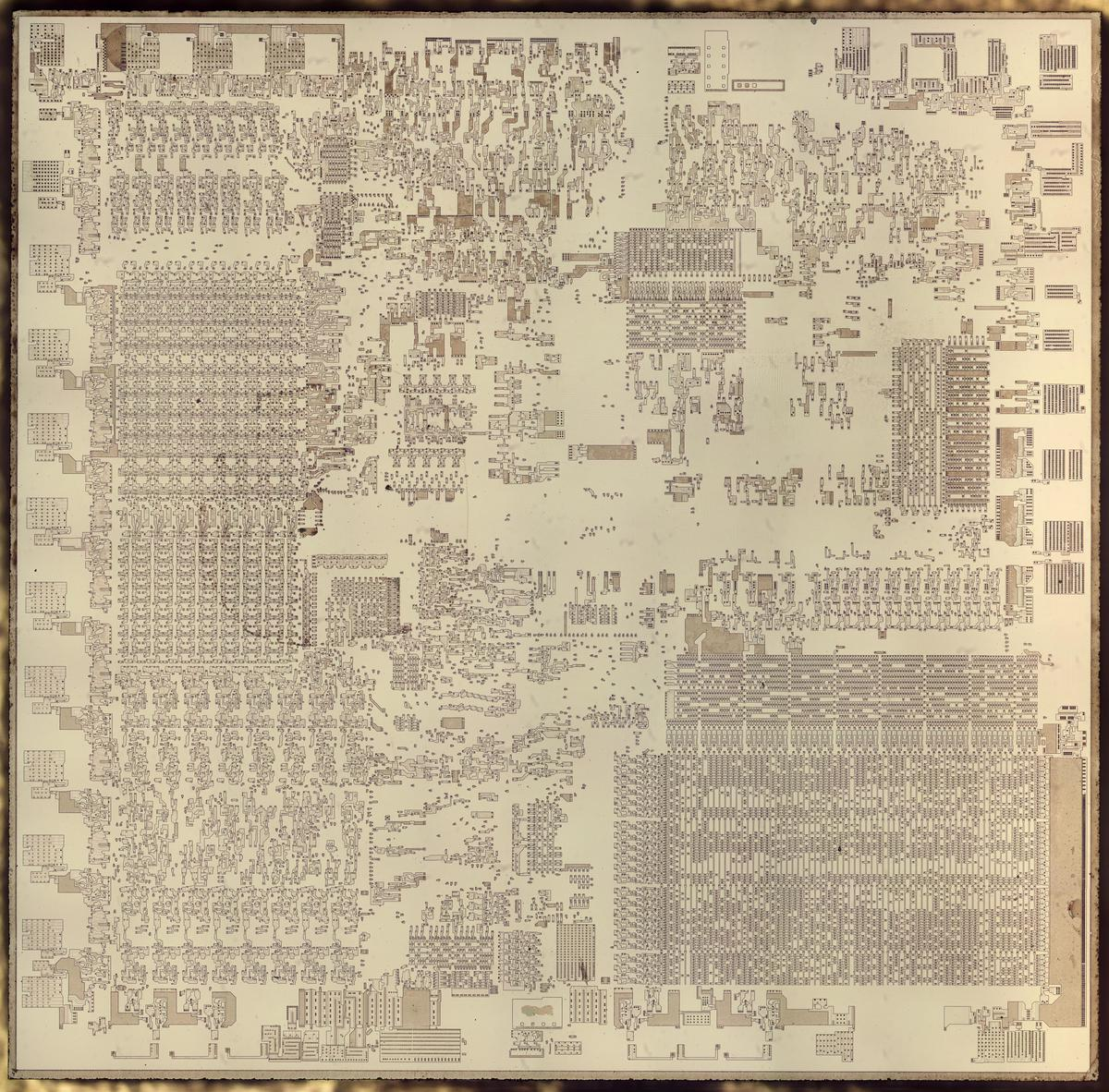 Die photo of the Intel 8086 processor. The metal and polysilicon have been removed to reveal the underlying silicon.