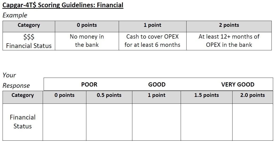 CAPGAR Target FInancial Scoring Guidelines