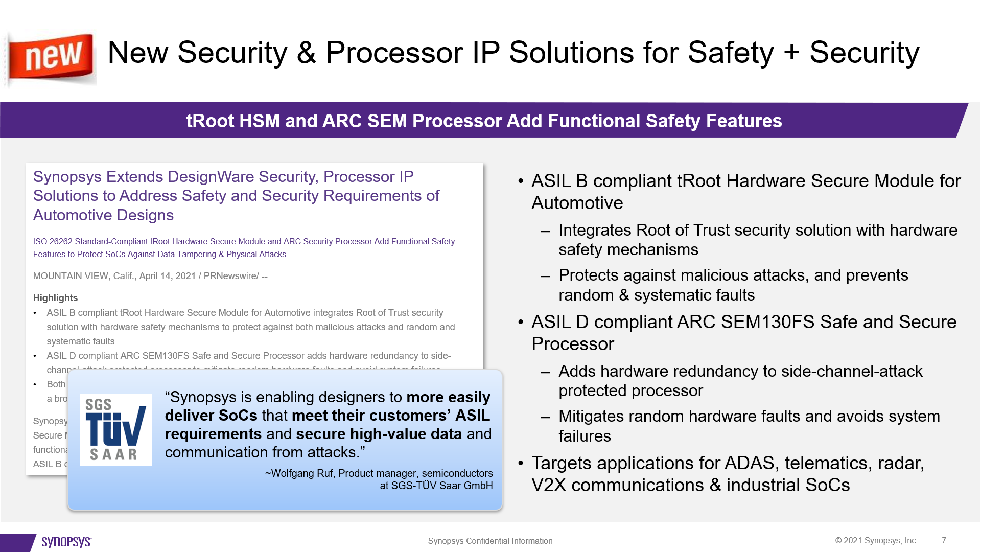 New Security and Processor IP for Auto Safety