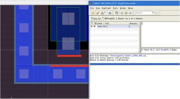DRC results min AMS IC design
