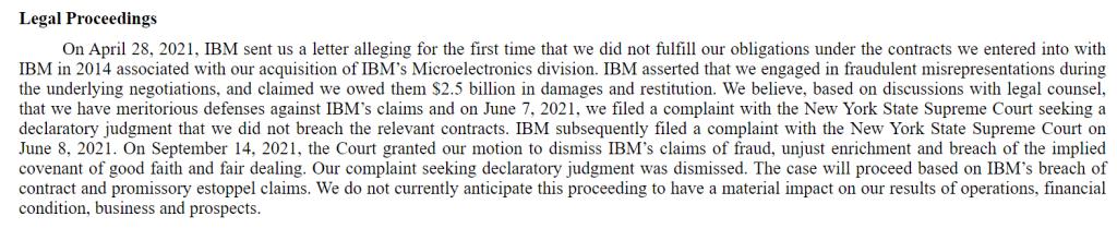 Globalfoundries Legal Proceedings IBM 2021
